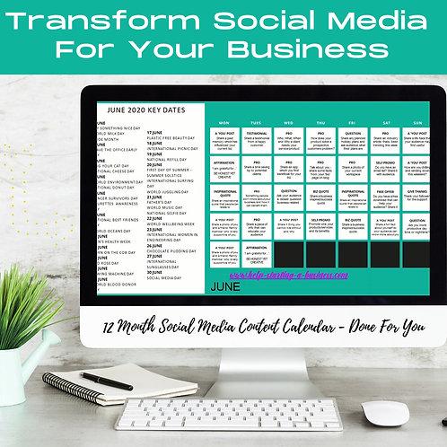 12 Month Content Calendar Social Media Posts Ideas - Done