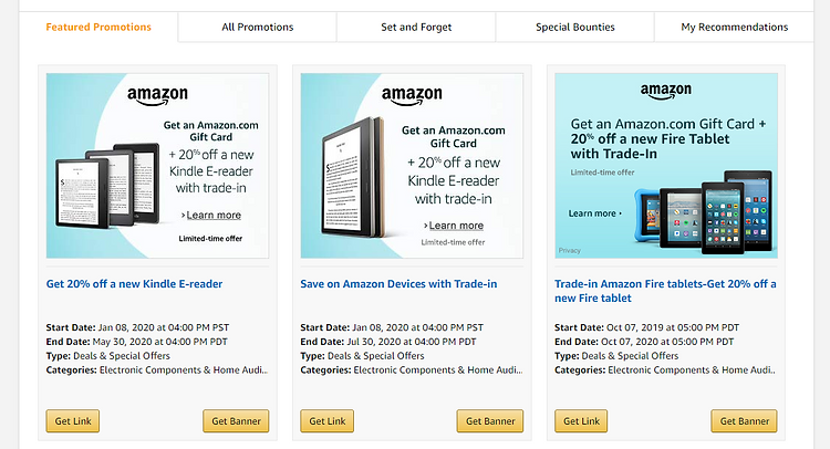 Amazon Affiliate Featured Promotions