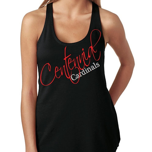 Fitted Black Tank with Glitter Logo