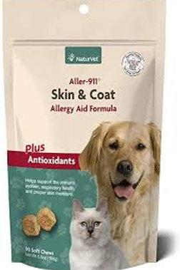 NaturVet Aller-911 Skin & Coat Allergy Aid Plus Antioxidants Soft Chews