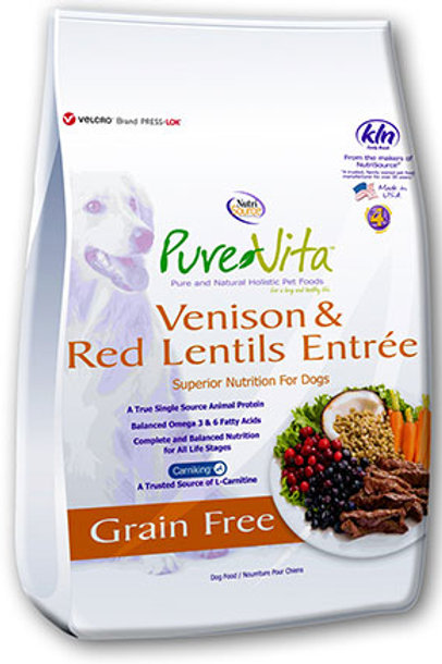 PureVita Venison & Red Lentils Grain Free Dog Food