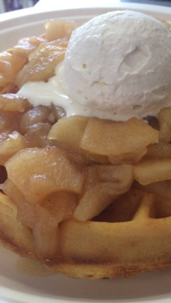 Waffles with fresh apple topping