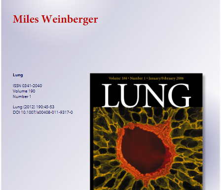 Lung Journal - This was specifically requested by the Editor in Chief. Dr. Weinberger complied.
