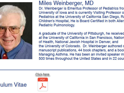 Who is Dr. Miles Weinberger, MD, Pediatric Pulmonologist?