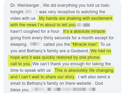 Miracle Man - Dr. Weinberger. Back in school!