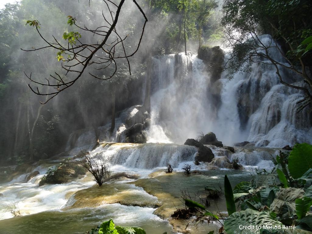 cascade, kuangsi, luang prabang, laos, voyage famille, enfants