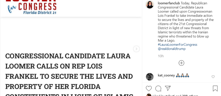 Candidate Laura Loomer Calls On Her DemocRAT Opponent Lois Frankel To Secure Safety Of Constituents