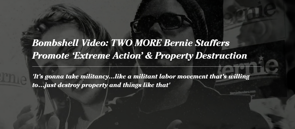 Bombshell Video: TWO MORE Bernie Staffers Promote 'Extreme Action' & Property Destruction