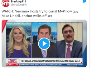 WATCH: Newsmax Host Cuts Off MyPillow CEO Mike Lindell As He Mentions Election Fraud