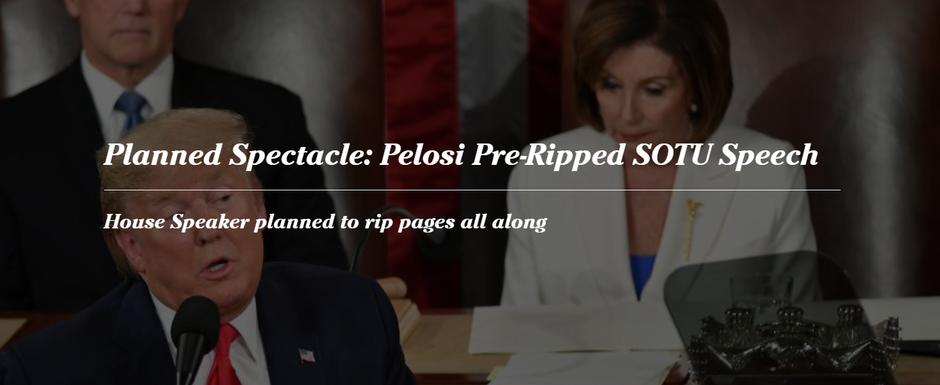 Planned Spectacle: Pelosi Pre-Ripped SOTU Speech