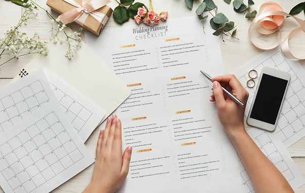Wedding background with checklist and ca