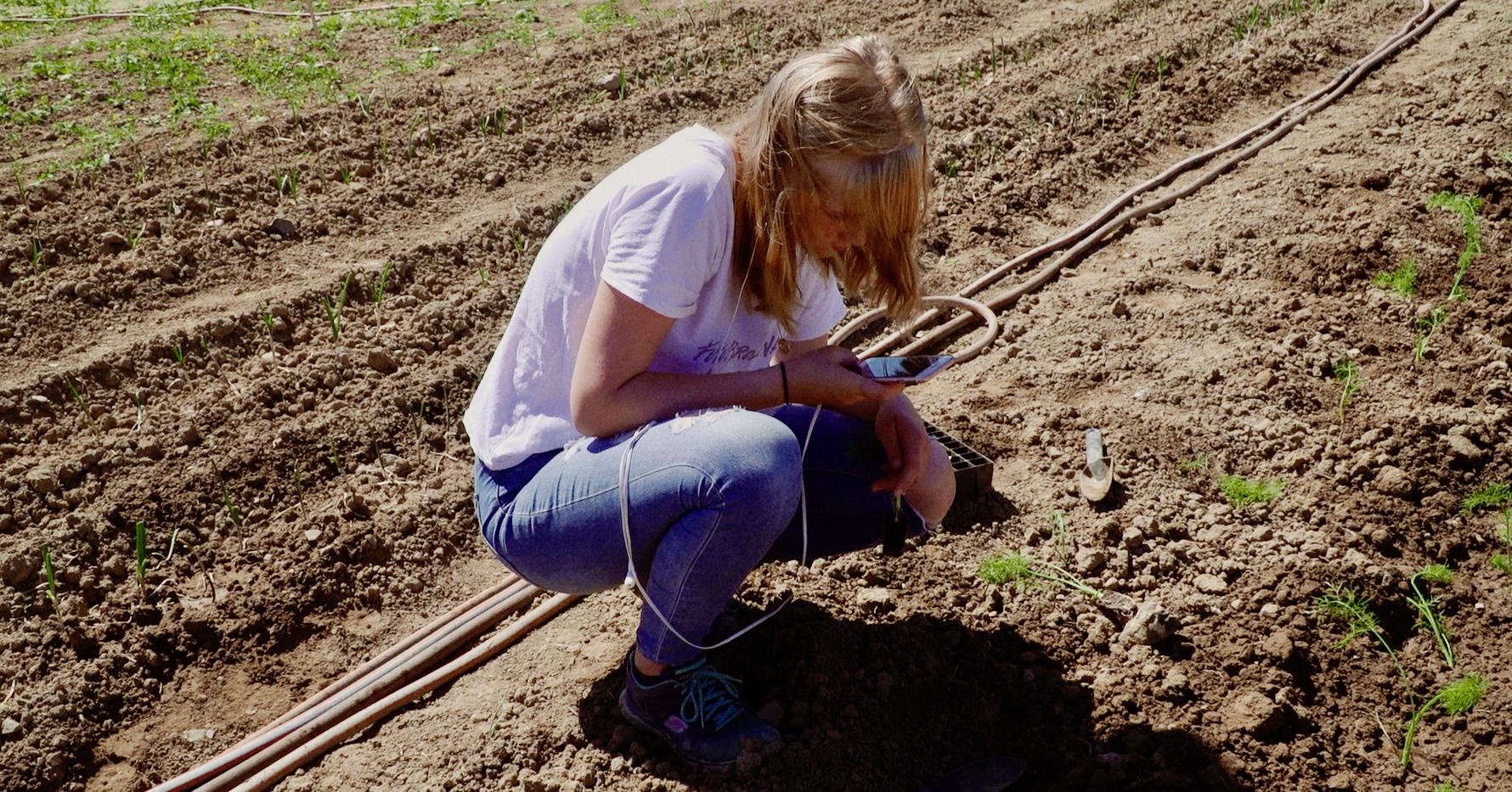 Aslaug på arbejde i marken