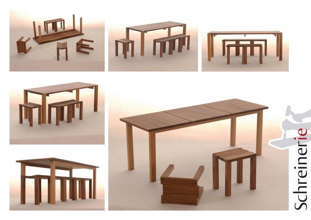 Tisch amerikanischer Nußbaum Hocker stec