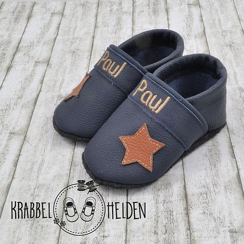 Krabbelschuhe dunkelblau mit Stern und Namen ab