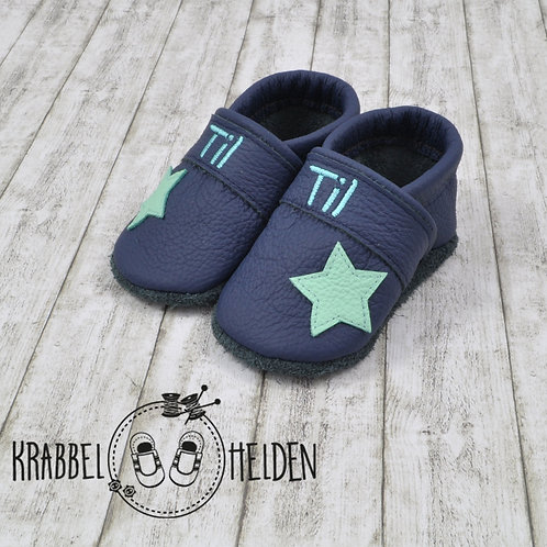 Krabbelschuhe dunkelblau mit Stern ab