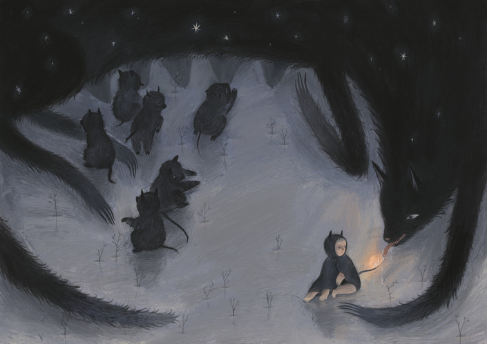 Six of them were ordinary, and the seventh had a fiery tail.  The dog tried its best to put out the fire on the puppy's tail, but each time it flashed again.
