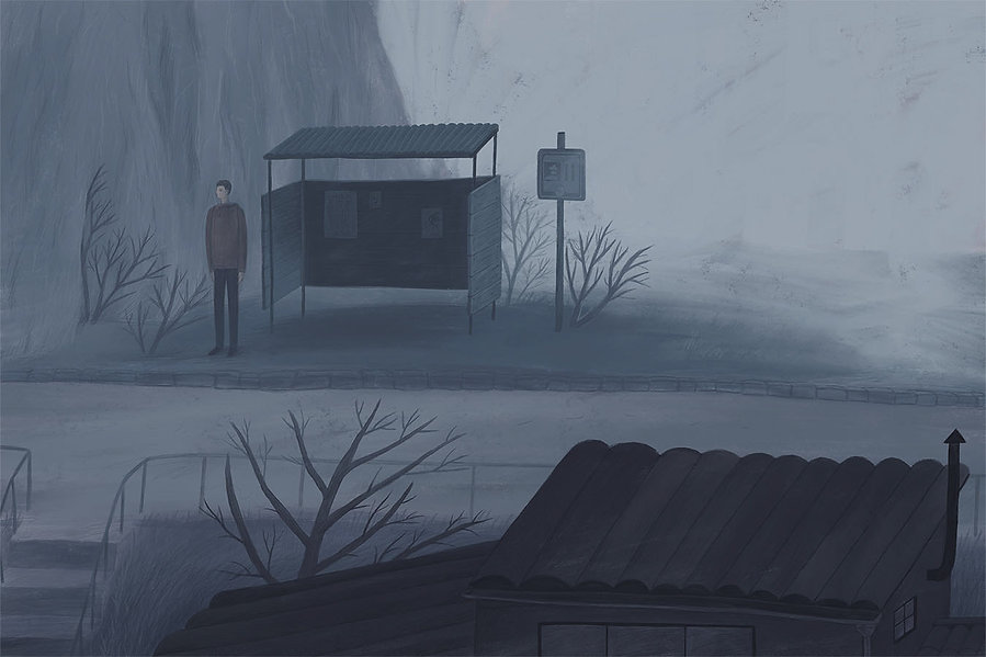 drawing, blue, sad, illustration, fog, foggy town, evening, picturebook