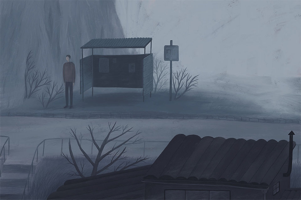 drawing, blue, sad, illustration, fog, foggy town, evening, picturebook