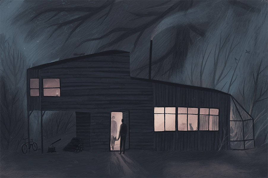 drawing, blue, sad, illustration, fog, foggy town, evening, picturebook, train, train station, night, friends, house, woods, tiny house