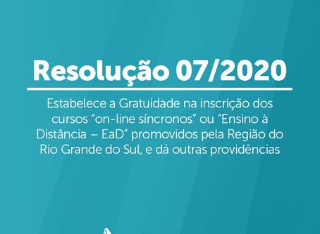 Resolução 07/2020: Estabelece a gratuidade dos cursos on-line