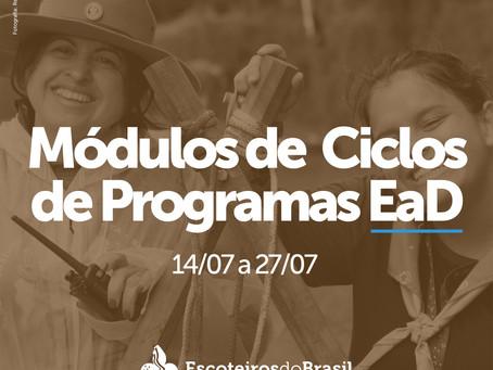 Módulos de Ciclos de Programas e Assessor Pessoal de Formação EaD - 14 a 27/07