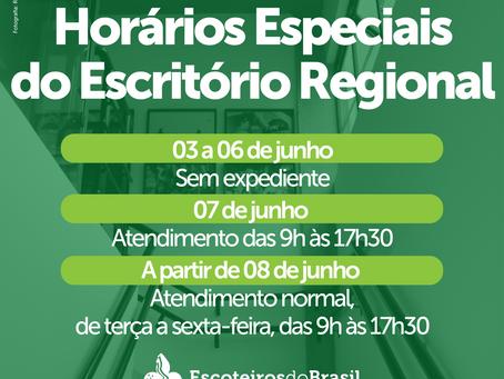 Horários do Escritório Regional para o feriado
