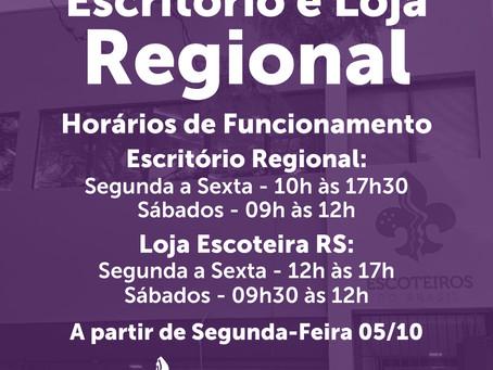 Escritório Regional do Rio Grande do Sul e a Loja Escoteira RS voltarão a trabalhar presencialmente.