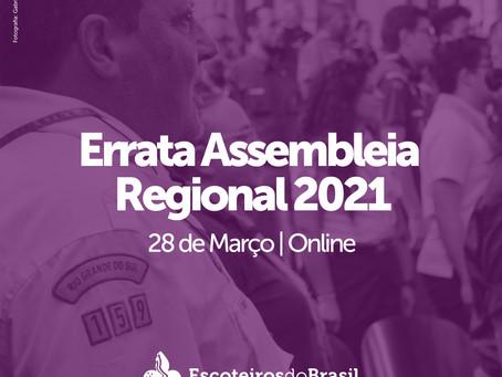 Errata Assembleia Regional 2021