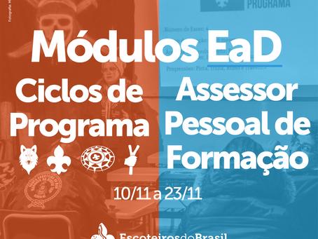 Módulos EaD de Ciclo de Programa e de Assessor Pessoal de Formação - Novembro