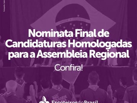 Nominata Final de Candidaturas Homologadas para a Assembleia Regional.
