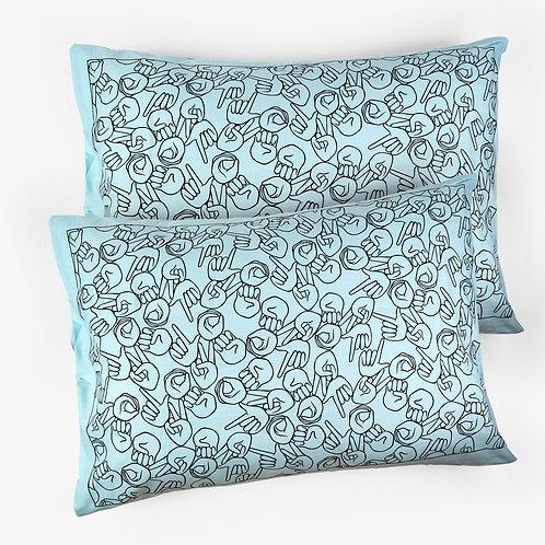 "Mint ""LOVE"" Pillowcase Set"