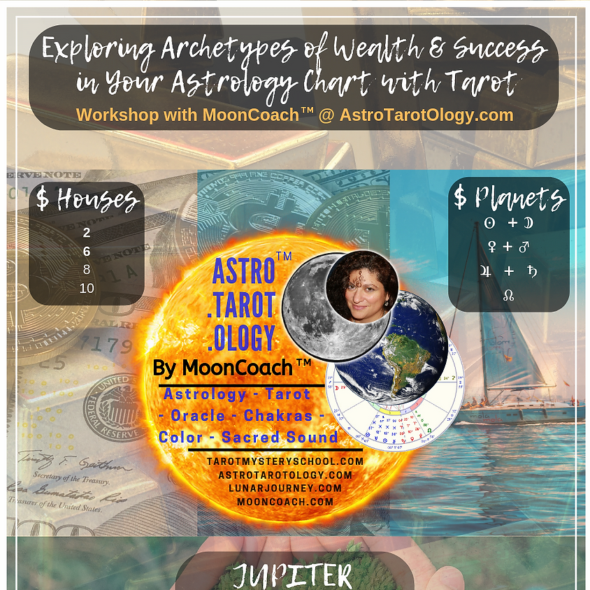Astro.Tarot.Ology™ with MoonCoach™: Exploring Archetypes of $$-Wealth-Success in Astrology Online Workshop