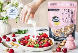 cashew sour cherry and chia gluten free muesli a finalist in the NZ food awards 2018