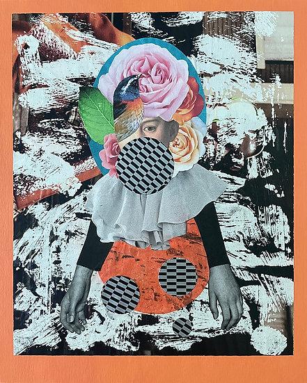 boy in a garden - handmade collage