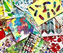 hand painted paper by students