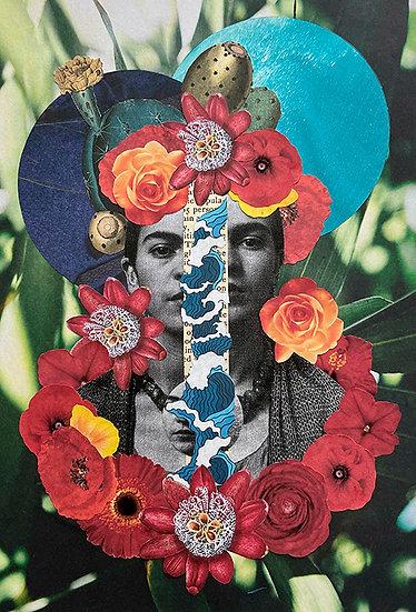 carmen frida divided - handmade collage