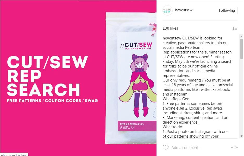 cut sew rep