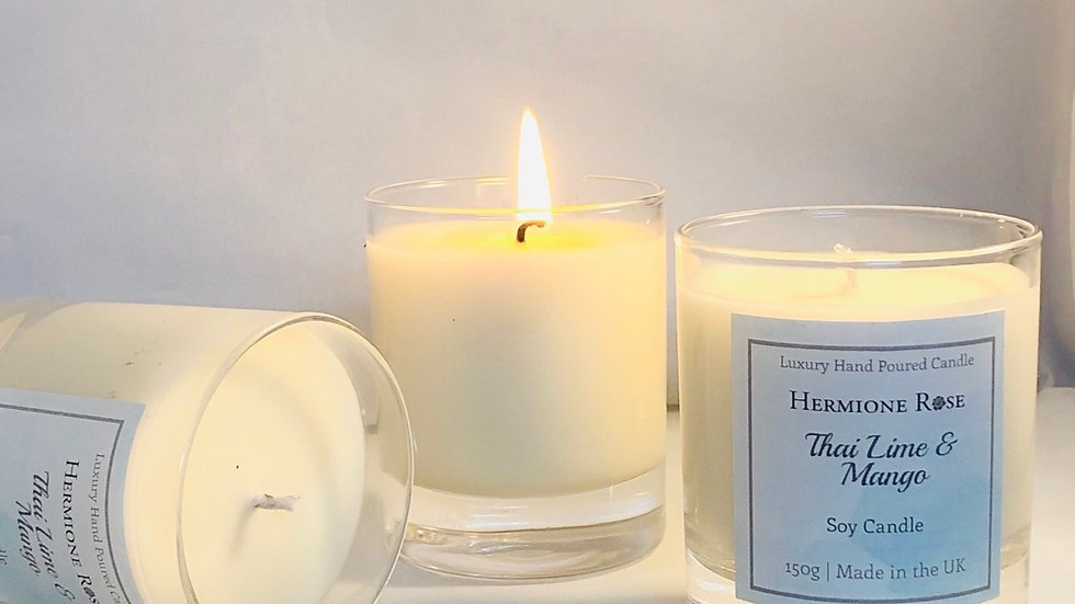 Hand Poured Glass Soy Candle Thai, Lime & Mango