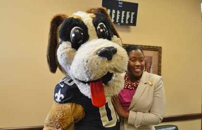 Jackson with Gumbo, New Orleans Saints Mascot Louisiana State Capitol