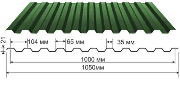 Профлист С-21 полиэстр 0,38мм 2х1,05