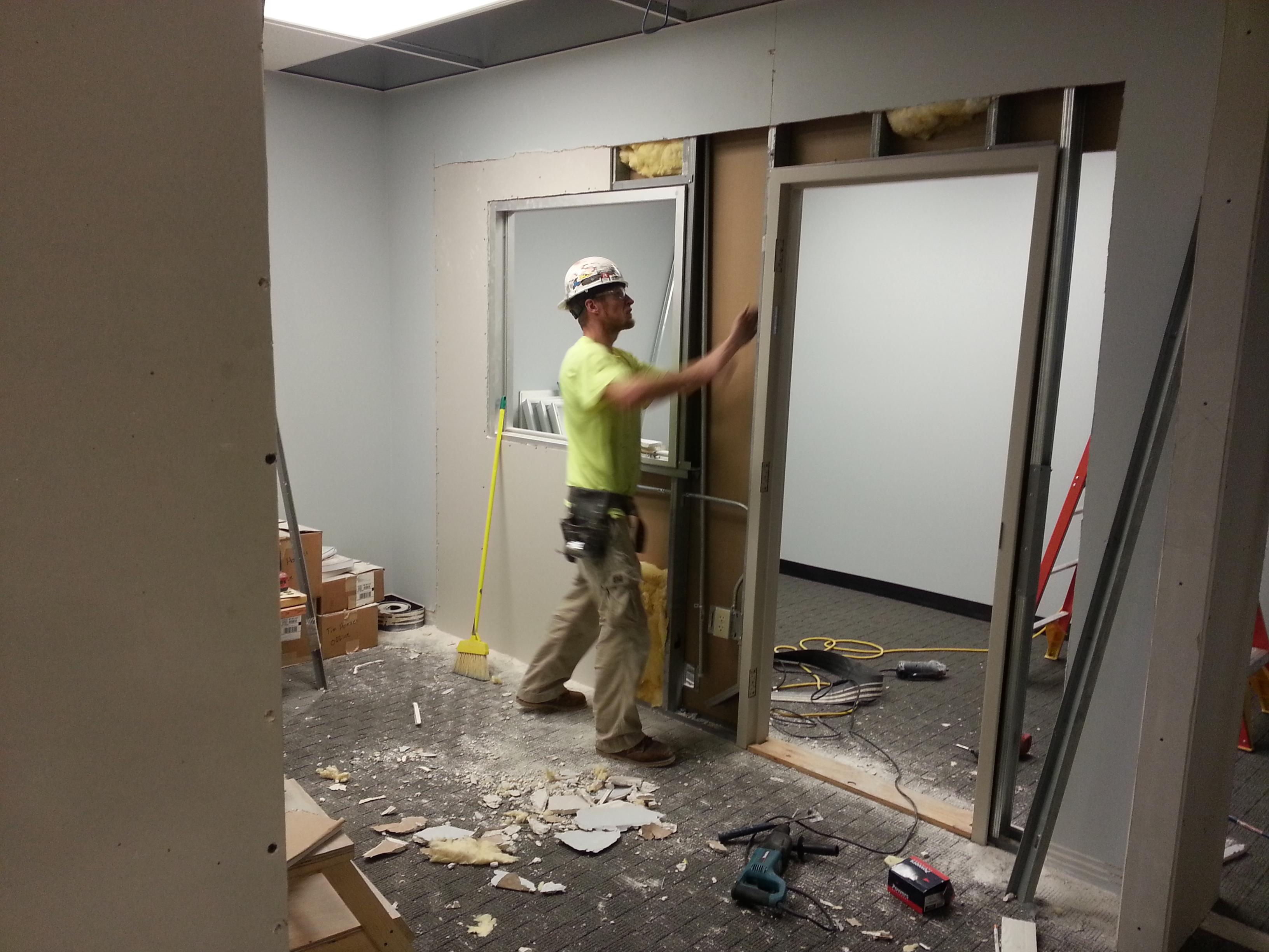 Apprentice working on ICRA room