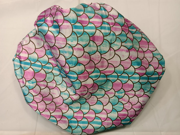 Teal and Rose scales - XL handmade shower cap