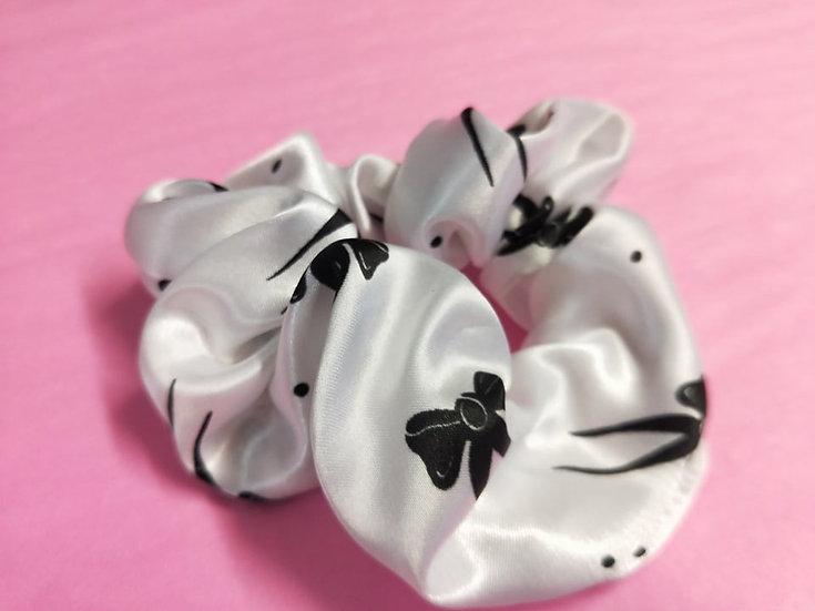 Black Bows Satin Scrunchies