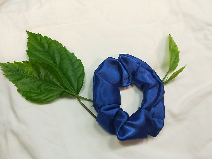 Navy Blue Satin Scrunchie