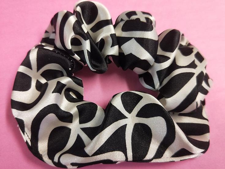 White on Black patterned Satin Scrunchies