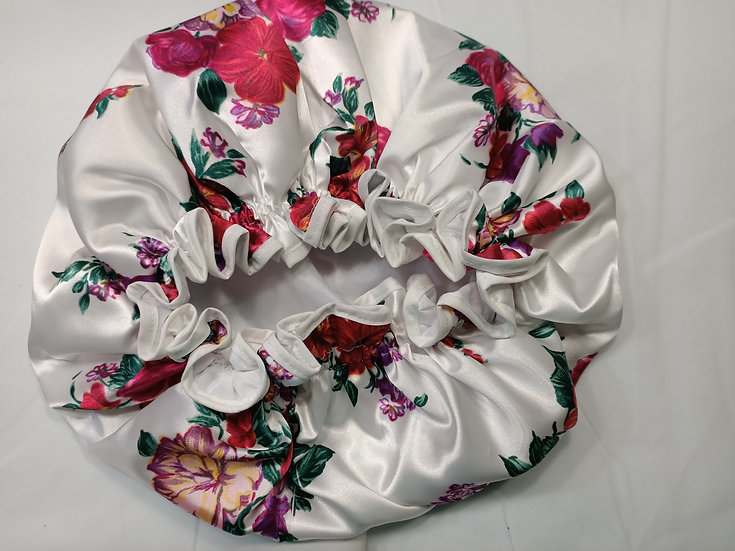 XL Flowers on White Shower Cap