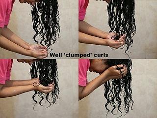 Clumped, wet curls