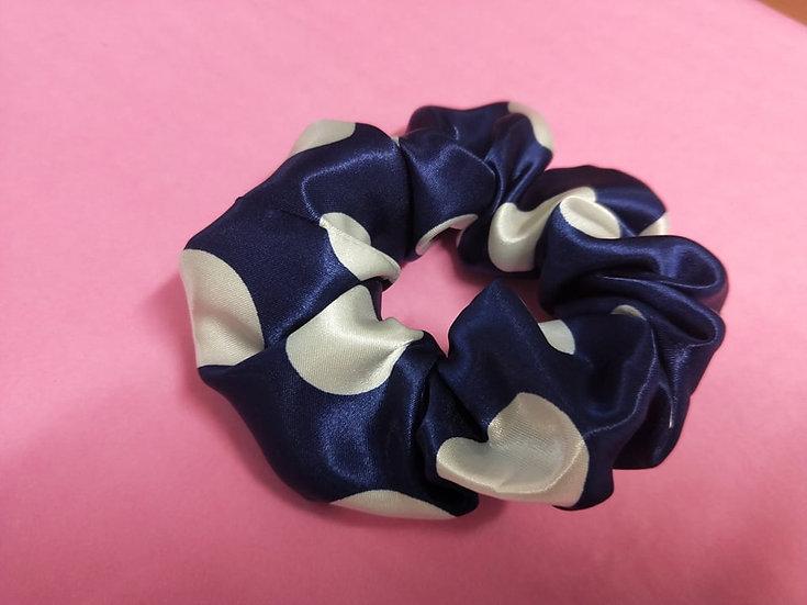 Polka Dot White on Blue Satin Scrunchie
