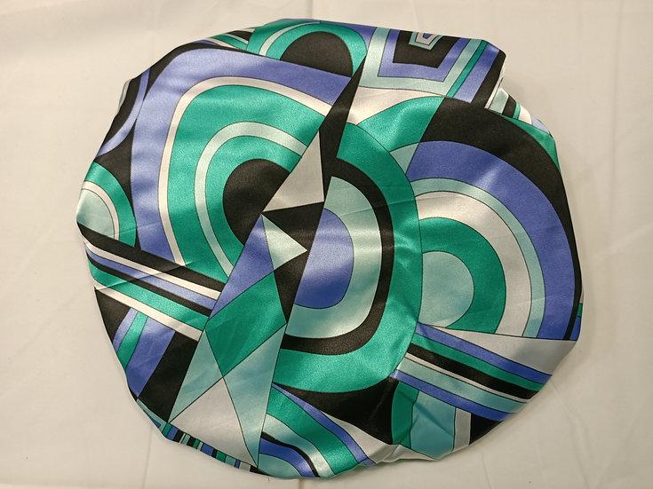 Blue and Green Geometrics - Limited Edition XL Shower Cap - Satin