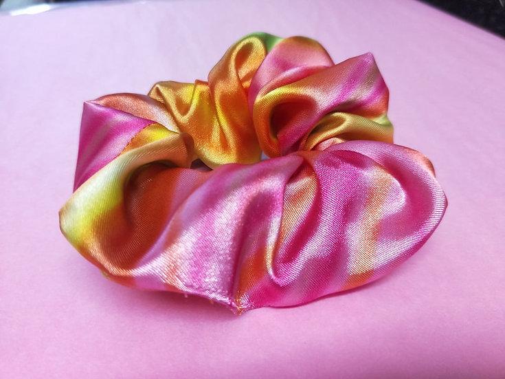Neon Pink Swirl Satin Scrunchies